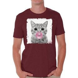 Awkward Styles Funny Cat Shirt Gifts for Him Funny Men T Shirt Little Cat Tshirt Cat with Pink Gum T Shirt Cat Clothing Animal T-Shirt for Men Funny Animal Gifts Cat T Shirt Cute Animal T Shirt
