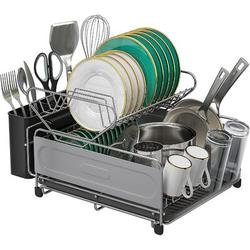 ZWISSLIV Kitchen Dish Drying Rack, 2 Tier Dish Drainer Rack 304 Stainless Steel Dish Rack & Drainboard Set w/ Utensil/Cup Holder For Kitchen Counter
