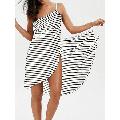 ZIYIXIN Women Plus Size Stripe Bikini Cover Up Spaghetti Strap Backless Beach Wrap Dress One Piece Swimwear