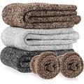 Men & Women Heavy Thick Wool Crew Socks, Thermal Warm Crew Winter Socks Gift (One Size 6-12) - 3 Pairs