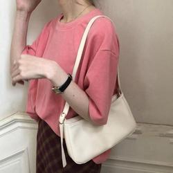 Cutelove Women's Shoulder Bag Korean Style Vintage Solid Color PU Casual Ladies Flap Messenger Handbag