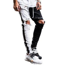 CVLIFE Men's Patchwork Destroyed Trouser Slim Fit Straight Leg Ripped Jeans Pants with Ankle Zippers and Holes