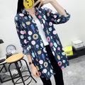 Women Long Shirt Foods Print Long Sleeves Turn-down Collar Button Down Casual Tops Blouse