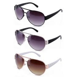 3 Packs Oversized Metal Aviator Plastic Temple Fashion Sunglasses for Women for Men