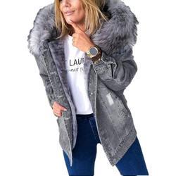 SySea Autumn Winter Women Fur Collar Denim Coat Female Warm Buttons Hooded Jacket Outwear