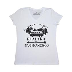 Inktastic Road Trip To San Francisco Adult Women's V-Neck T-Shirt Female White S