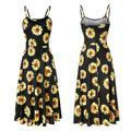 Women's Backless Printed Loose Strap Dress Summer Sunflower Dress Lemon Dress