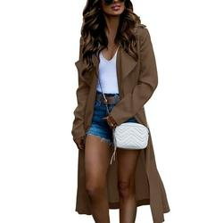 Women Longline Coat Overcoat Casual Long Sleeve Trench Coat Autumn Lapel Long Jacket Outwear Ladies Stylish Lightweight Open Front Coat