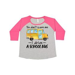 Inktastic You Dont Scare Me- I Drive a School Bus Adult Women's Plus Size T-Shirt Female Baseball Heather and Hot Pink 4X