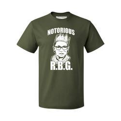 P&B Notorious RBG Ruth Bader Ginsburg Men's T-shirt, 2XL, Military
