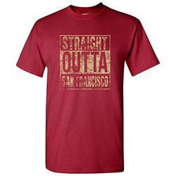 Straight Outta San Francisco - San Francisco Football T Shirt - Large - Cardinal
