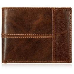 Wallets for women,genuine leather women wallets, Men's Classic Vintage Brown Genuine Premium Leather Handmade Bifold Zipper Card Wallet