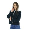 $148 Calvin Klein women's Blue Black Denim Trucker Jacket Size XL