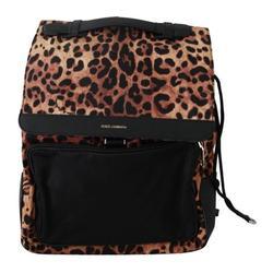 Leopard Print School Drawstring Leather Backpack