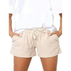 Sexy Dance Women Lightweight Cotton Linen Shorts Relaxed Fit Shorts Elastic Waist Short Pants