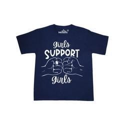 Inktastic Girls Support Girls Fist Bump Tween Short Sleeve T-Shirt Unisex Navy M