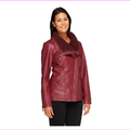 Denim and Co. Faux Leather Jacket w/ Faux Sherpa Collar, Wine ,Size XXS, MSRP $69