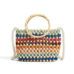 Woven Bag Color Handmade Beads Shoulder Bag Straw Crossbody Bag High-End Fashion Small Handbag for Women