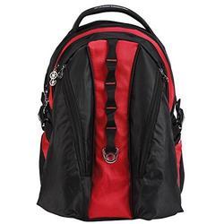 "Deluxe Laptop Backpack Heavy Duty Laptop Bookbag Ipad Tablet Daypack Student School Bag Travel Bag fits 15"" Laptop Red"