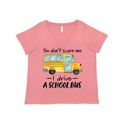 Inktastic You Dont Scare Me- I Drive a School Bus Adult Women's Plus Size V-Neck Female Mauve 3X