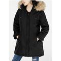 Madden Girl Juniors Women's Faux Fur Trim Hooded Parka Jacket, Black XS - NEW