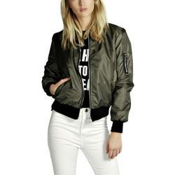Womens Classic Full-Zip Quilted Jacket Short Bomber Jacket Coat