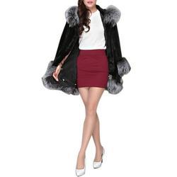 Faux Fur Hooded Jacket Velvet Jacket Women Fashion Keep Warm Winter Faux Fur Coat Female Faux Fur Collar Hooded Jacket Female Slim Plush Mid-long Coat Black S