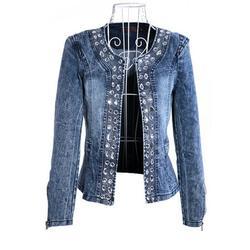Ladies Biker Diamonds Denim Jean Jacket Coat Blaser Jeans Denim Jacket Coat Long Sleeve Women Top Jacket Rhinestone Sequins Outwear