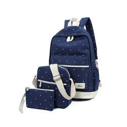 Lowestbest 3Pcs/Sets School Canvas Backpacks for Teenage Girls, Travel Scatchel Rucksack Backpacks for Middle School(1 Backpack+1 Shoulder bag+ 1 Handbag), Black School Backpack for Kids