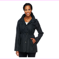 Dennis Basso Water Resistant Floral Lined Anorak Jacket with Hood,Black, S, $74