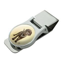 Chocolate Lab Labrador Puppy Dog Crown Necklace Satin Chrome Plated Metal Money Clip