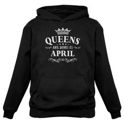Tstars Womens Birthday Gift for Women Queens Are Born in April Birthday Party B Day Women Hoodie