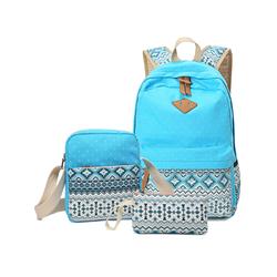 3Pcs/Sets Backpacks for Teenage Girls for School, Blue Canvas Backpacks for Girls Scatchel Rucksack Backpacks for Middle School, Causual Backpack for Traveling