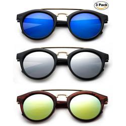 Newbee Fashion -Kids Girls Fashion Sunglasses Plastic Round Aviator Popular Color with Flash Mirror Lens Kids Sunglasses UV Protection Lead Free Stylish High Quality Fashion Sunglasses for Girls