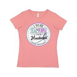 Inktastic Suicide Prevention- I Wear Teal and Purple for My Husband Adult Women's T-Shirt Female