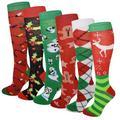 Sumona 6 Pairs Women Christmas Holidays Festive Fancy Design Knee High Socks