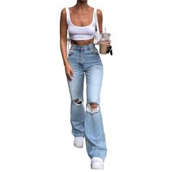 Niuer Women High Waist Retro Bell-bottom Jeans Ripped Denim Flare Trousers Pants Ladies Fit Holes Jeans Trousers Cute Ripped Bootcut Jeans For Junior Ladies