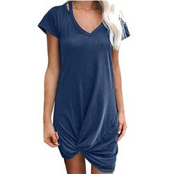 Tuscom Womens Casual Short Sleeve Round Neck T Shirt Dresses Twist Front Knot Tunic Dress for Women