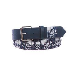 "Snap On 1 1/2"" Skull & Cross Bone Printed Punk Rock Studded Belt"