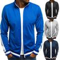 FOCUSNORM Mens Plain Autumn Zip Up Jacket Outwear Jumper Baseball Top Coats Jumper Top