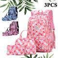 HOTBEST 3Pcs Junior High University School Bag Geometric Printed Primary Bookbag Backpack Sets