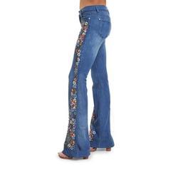 Vintage Ladies Plus Size Floral Embroidery Wide Leg Denim Pants Women Denim Jean Women Juniors 70s Trendy Slim Fit High Waist Flared Bell Bottom Denim Jeans Pants