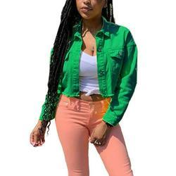 Women's Cropped Jacket Junior's Denim Jacket Coat Slim Fit Trench Coat Trucker Jacket