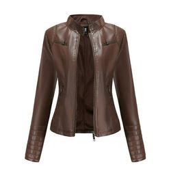 New Moto Biker Jacket Coat For Women Collarless Full Zip Up Faux Leather Jacket Outerwear Ladies Motorcycle Jacket PU Slim Short Biker Coat