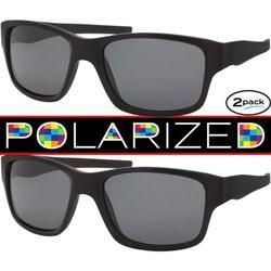 Mens Polarized Sunglasses 2 Pack All Black Sport Wrap Sunglass Style