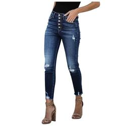 Mchoice Women' s High-waisted, High-stretch, High Rise Button Fly Distressed Super Skinny Jeans