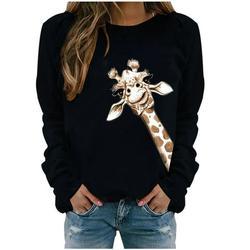 Lanhui Womens Winter Winter Womens Casual Long Sleeve Tops Ladies Print Sweatshirt Blouse Tee Sweater Womens Sweatshirts & Hoodies