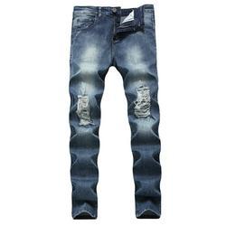 Stylish Men's Ripped Skinny Jeans Destroyed Frayed Slim Fit Denim Pants Trousers Mens Denim Biker Jeans Size 28-42 Denim Blue 34