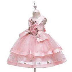 Girl's Summer Vest Style Dress Fashion Solid Color Embroidery Children Mesh Yarn Princess Dress