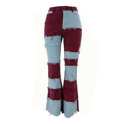 Women's Fashion Patchwork High Rise Jeans Slimming Wide Leg Stretch Denim Flare Bellbottom Jeans